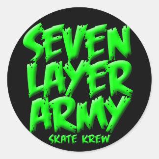 Seven Layer Army Skateboard Krew Round Sticker