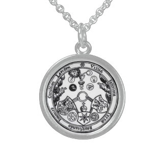 seven magical metals round pendant necklace