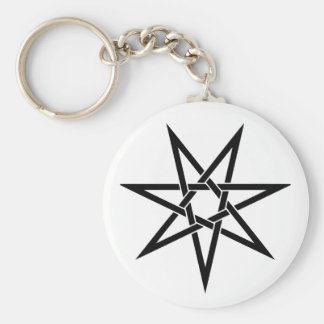 Seven Pointed Star Basic Round Button Key Ring