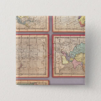 Seven Puzzle Maps of the World 15 Cm Square Badge