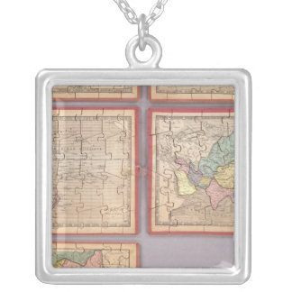 Seven Puzzle Maps of the World Silver Plated Necklace