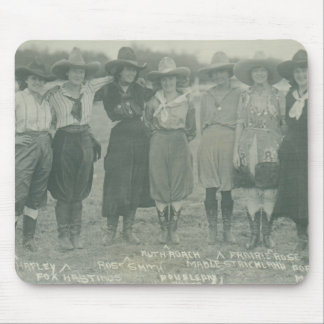 Seven rodeo cowgirls posing for a photograph. mouse pad