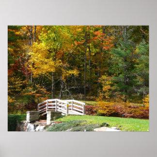 Seven Springs Fall Bridge I Autumn Landscape Photo Poster