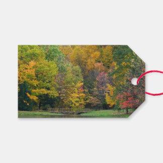 Seven Springs Fall Bridge II Autumn Landscape Gift Tags