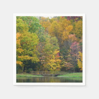 Seven Springs Fall Bridge II Autumn Landscape Paper Napkin