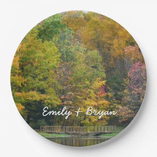 Seven Springs Fall Bridge II Autumn Landscape Paper Plate