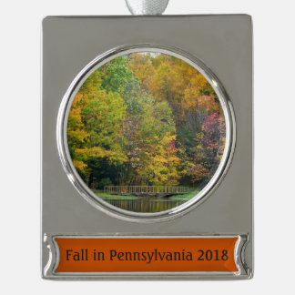 Seven Springs Fall Bridge II Autumn Landscape Silver Plated Banner Ornament