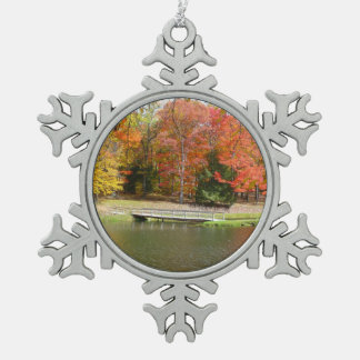 Seven Springs Fall Bridge III Autumn Landscape Snowflake Pewter Christmas Ornament
