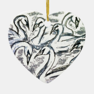 Seven Swans A Swimming Ceramic Heart Decoration