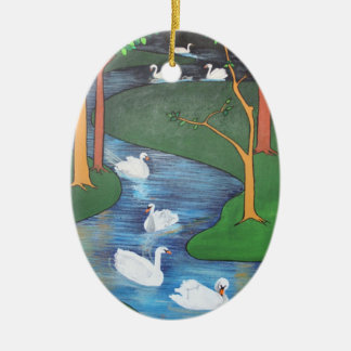 Seven Swans A-Swimming Christmas Ornament