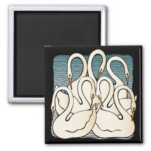 Seven Swans a Swimming Refrigerator Magnets