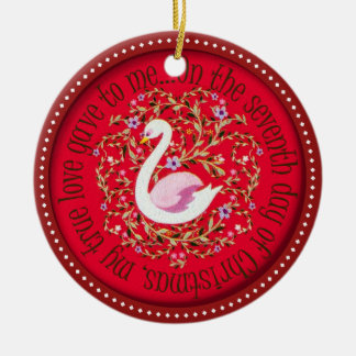Seven swans aswimming christmas ornament