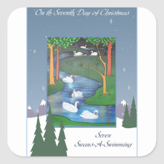 Seven Swans Square Sticker