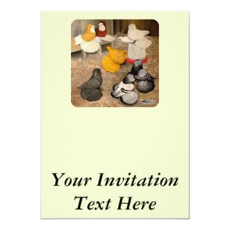 Seven Trumpeter Pigeons 13 Cm X 18 Cm Invitation Card