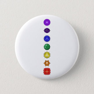 Seven vertical chakras 6 cm round badge