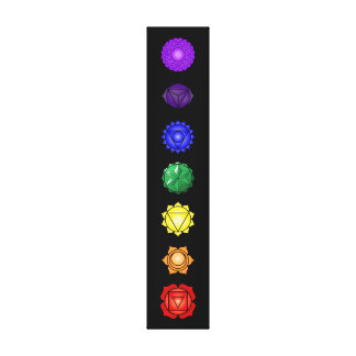Seven vertical chakras stretched canvas prints
