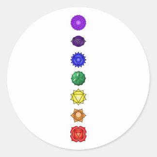 Seven vertical chakras classic round sticker