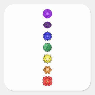 Seven vertical chakras square sticker
