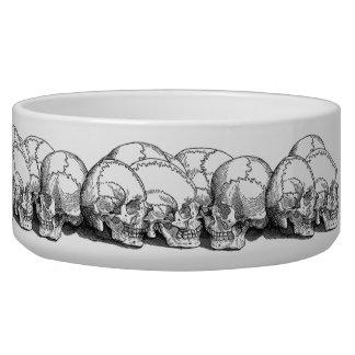 Seven Vintage Skulls Dog Water Bowls