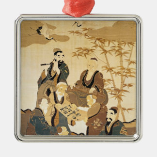 Seven wise men in the bamboo forest Silver-Colored square decoration