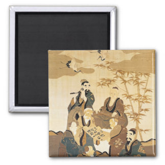 Seven wise men in the bamboo forest square magnet
