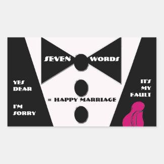 Seven Word = Happy Marriage - Yes Dear Rectangular Sticker