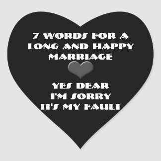 Seven Words For a Long and Happy Marriage Stickers