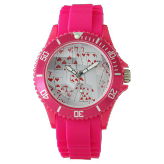 Sevens, Poker Cards, Ladies Pink Sports Watch. Watch