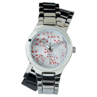Sevens, Poker Cards, Ladies Silver Wrap Watch. Watch