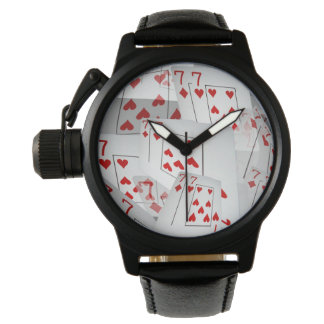 Sevens, Poker Cards, Mens Black Leather Watch. Watch