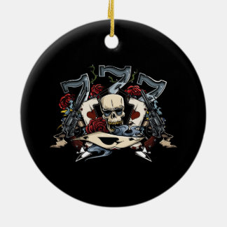 Sevens Skull Guns Roses Ace Of Spades Gambling Christmas Ornament