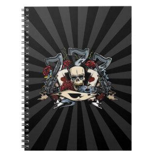 Sevens Skull Guns Roses Ace Of Spades Gambling Spiral Notebooks