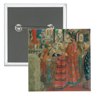 Seventeenth Century Russian Women at Church 15 Cm Square Badge