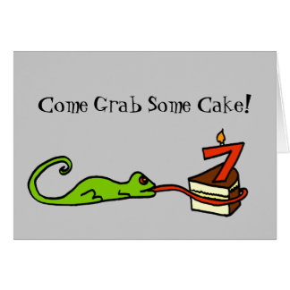 Seventh Birthday Lizard Party Invitation