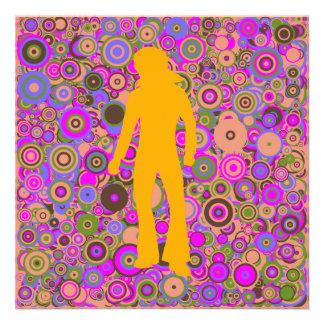 Seventies disco party multicolor customizable custom invitations