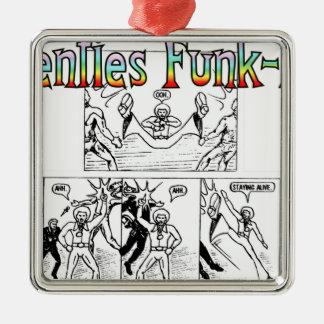 Seventies Funk-Man Silver-Colored Square Decoration