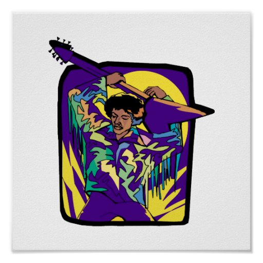 seventies guitarist over head pu.png posters