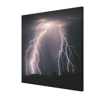 Several cloud to ground lightning flashes from a t canvas print