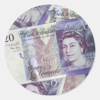 Several Pound Bills New British0 Pounds Money Classic Round Sticker