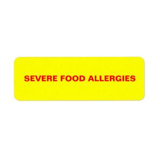 Severe Food Allergies Return Address Label