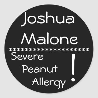 Severe Peanut Allergy Label Round Sticker