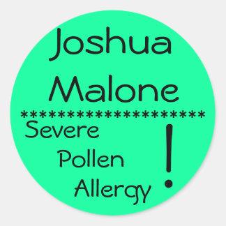 Severe Pollen Allergy Label** Round Sticker