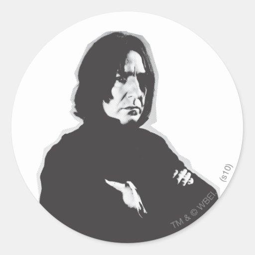 Severus Snape Arms Crossed B-W Round Stickers