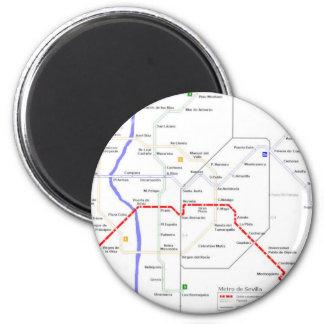 Sevilla Metro Map Fridge Magnets