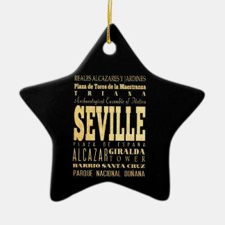 Seville City of Spain Typography Art Christmas Ornament