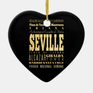 Seville City of Spain Typography Art Christmas Ornament