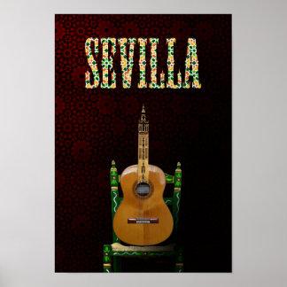 SEVILLE. Flamenco guitar with Giralda of Seville Poster