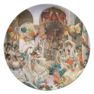 Seville (oil on canvas) dinner plates
