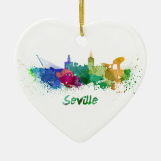 Seville skyline in watercolor christmas ornament