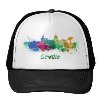 Seville skyline in watercolor gorros